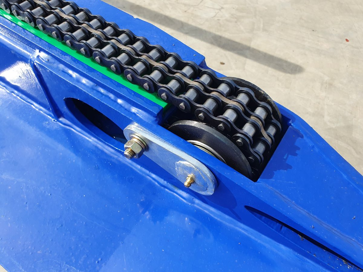 Extra wide Duplex Chain, with Nylon Wear Strip to prevent wear to frame & chain